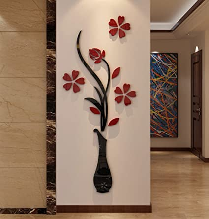 Set Of 3 Magic 3d Vase Flowers Removable Wall Art Sticker Decals Diy For Living Room Bedroom Sofa Home Decor Home & Garden