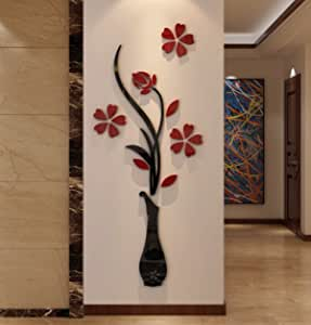 3d Vase Wall Murals for Living Room Bedroom Sofa Backdrop Tv Wall Background Originality Stickers Gift DIY Wall Decal Wall Decor Wall Decorations (Red 59 X 23 Inches)