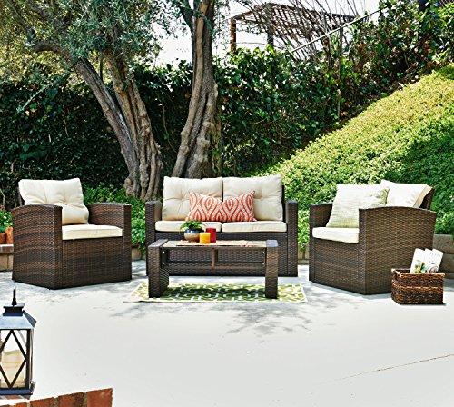 THY-HOM Roatan 4 Piece Outdoor Wicker Conversation Set (The-hom Outdoor Furniture)