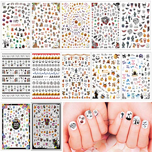 Halloween Nail Art Easy (Whaline 12 Sheets Halloween Nail Art Stickers Decals, 3D Self-Adhesive Stickers for Women Girls Kids Manicure DIY or Nail Salon (More than)