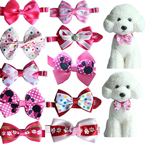Yagopet 10pcs Hot Pet Dog Bow tie Mix Gilrs Colors Cat Dog Bowtie neckties Adjustable Pet Pet Collars Dog Grooming Products Dog Accessories Cute ()