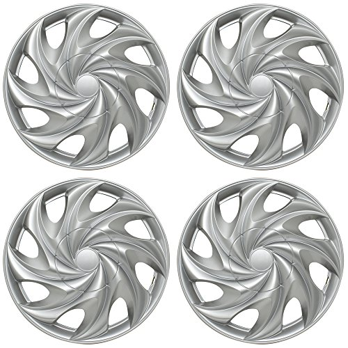 14 inch Hubcaps Best for 1998-2000 Toyota Corolla - (Set of 4) Wheel Covers 14in Hub Caps Silver Rim Cover - Car Accessories for 14 inch Wheels - Snap On Hubcap, Auto Tire Replacement Exterior Cap)