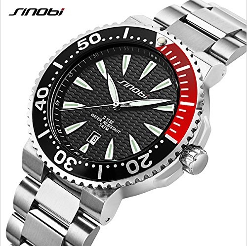 SINOBI Men Watch with Stainless Steel Case and Silver Bracelet Band, Waterproof Calendar Date Watch Black Diva Charm Watch