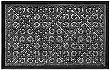 Door Mat Indoor Outdoor Doormats Outside Effective Scraping of Dirt Patio Grass Moisture Snow Dust Grit Removal Ideal Low Profile Doormat Front Door Entrance Mat Gray Rug Non Slip Rubber 17.5''x 27''