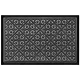 Door Mat Indoor Outdoor Doormats Outside Effective Scraping of Dirt Patio Grass Moisture Snow Dust Grit Removal Ideal Low Profile Doormat Front Door Entrance Mat Grey Rug Non Slip Rubber 17.5''x 27''