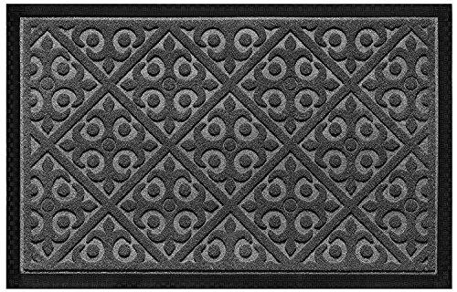 Elogio Doormat Indoor Outdoor Doormats Outside Effective Scraping of Dirt Patio Grass Snow Dust Grit Removal Ideal Low Profile Door Mat Front Door Entrance Mat Rug Non Slip Rubber (Gray) 17.5x 27
