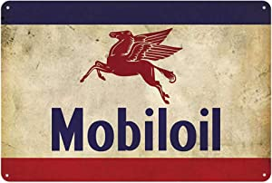 Original Vintage Design Mobil Oil Tin Metal Wall Art Signs, Thick Tinplate Wall Decoration Poster for Garage