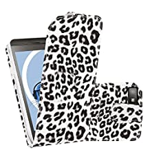 White Black Leopard PU Leather Executive Vertical Flip Wallet Case Cover Organiser For BlackBerry Z10