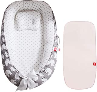 3 in 1 Organic Toddler Lounger - Womdee Baby Nest   Organic Portable Bed, Which Easy to Clean   Comes With The Baby Pillow and Baby Cool Pad