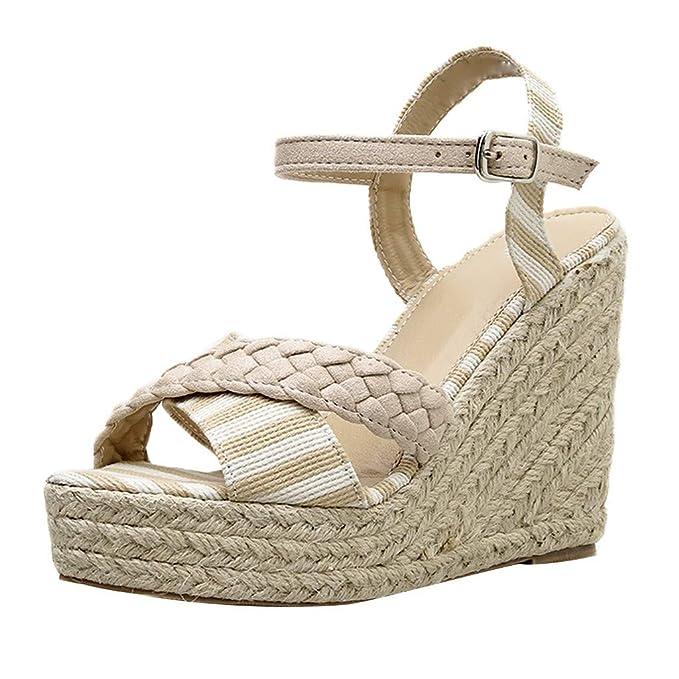 c148dddc Darringls_Sandalias de Primavera Verano Mujer,Moda Sandalias Rebaño Grueso  de tacón Alto Zip Sandalias Sólidas Peep Toe Zapatillas Boca de Pescado  Zapatos ...