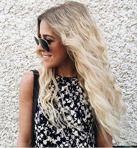 - Vedar 2019 Summer Style Flawless- Wob Hair (Wavy Bob Hair) Dirty Blonde Hair Dark Rooted Blonde Lace Front Wigs for Women (Brown Roots 21'')