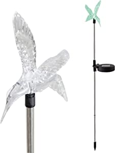 Candle Choice Color Changing Solar Garden Stake Light with Vivid Figurine – Hummingbird, LED Garden Light, Landscape Light, In-ground light Outdoor Light for Garden Decoration and Flower Beds