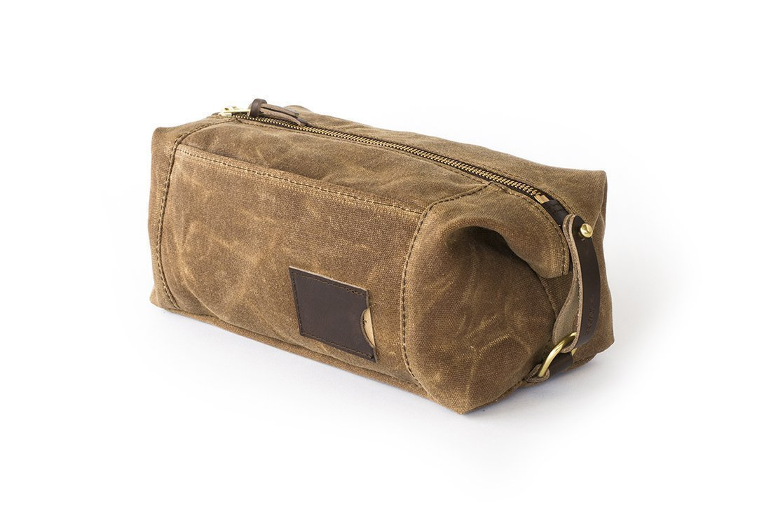 Waxed Canvas Dopp Kit: Large, Expandable, water-resistant, Hanging Toiletry Bag, Travel, Brown - No. 349 (Made in the USA)