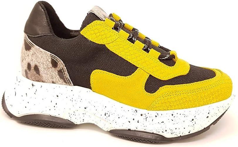 SPM Kartrie Ugly Plateau Sneaker YellowBlackLeo Größe 40