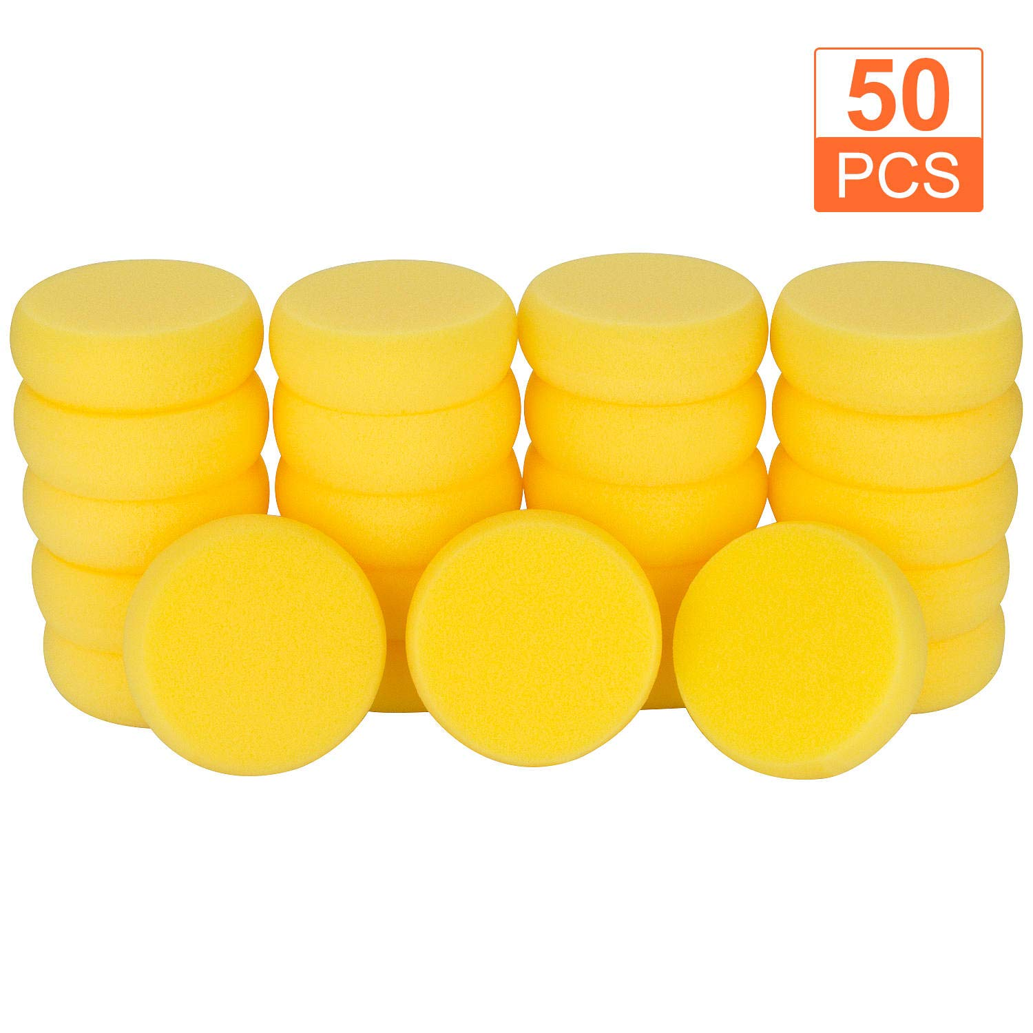 50Pcs of Synthetic Sponges, Round Watercolor Sponge for Artist Face Painting, Painting, Crafts, Pottery, Clay, Ceramics, Wall by Abuff