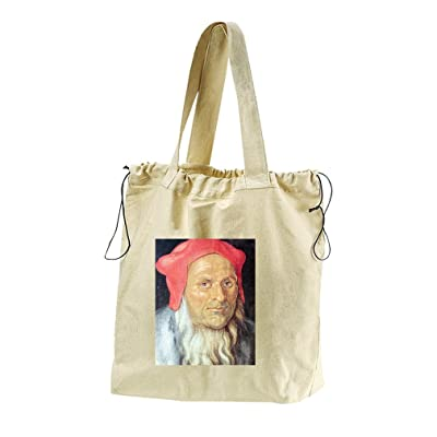 Portrait Of Bearded Man Red Cap (Durer) Canvas Drawstring Beach Tote Bag