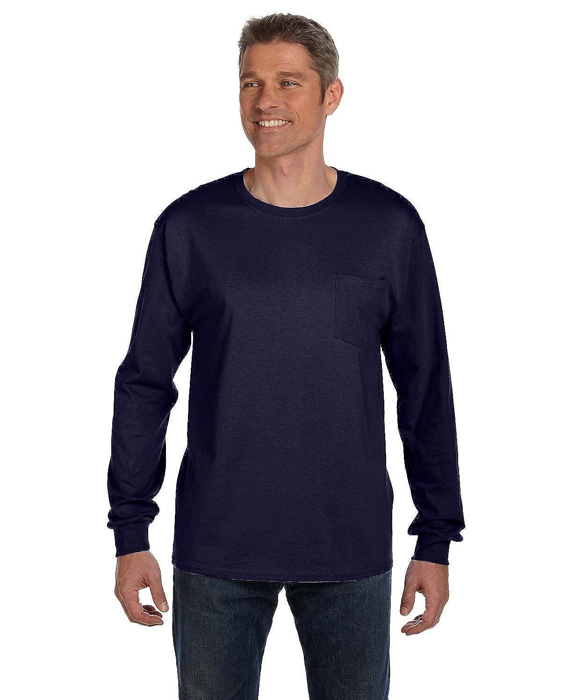 Hanes Tagless Men`s Long-Sleeve T-Shirt with Pocket Navy