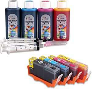 Fink 564XL Prefilled Refillable Ink Cartridge & 4x100ml Ink Refill Kits Replacement for Hp 546 and 564XL, 4 Colors (Black,Cyan,Magenta,Yellow)