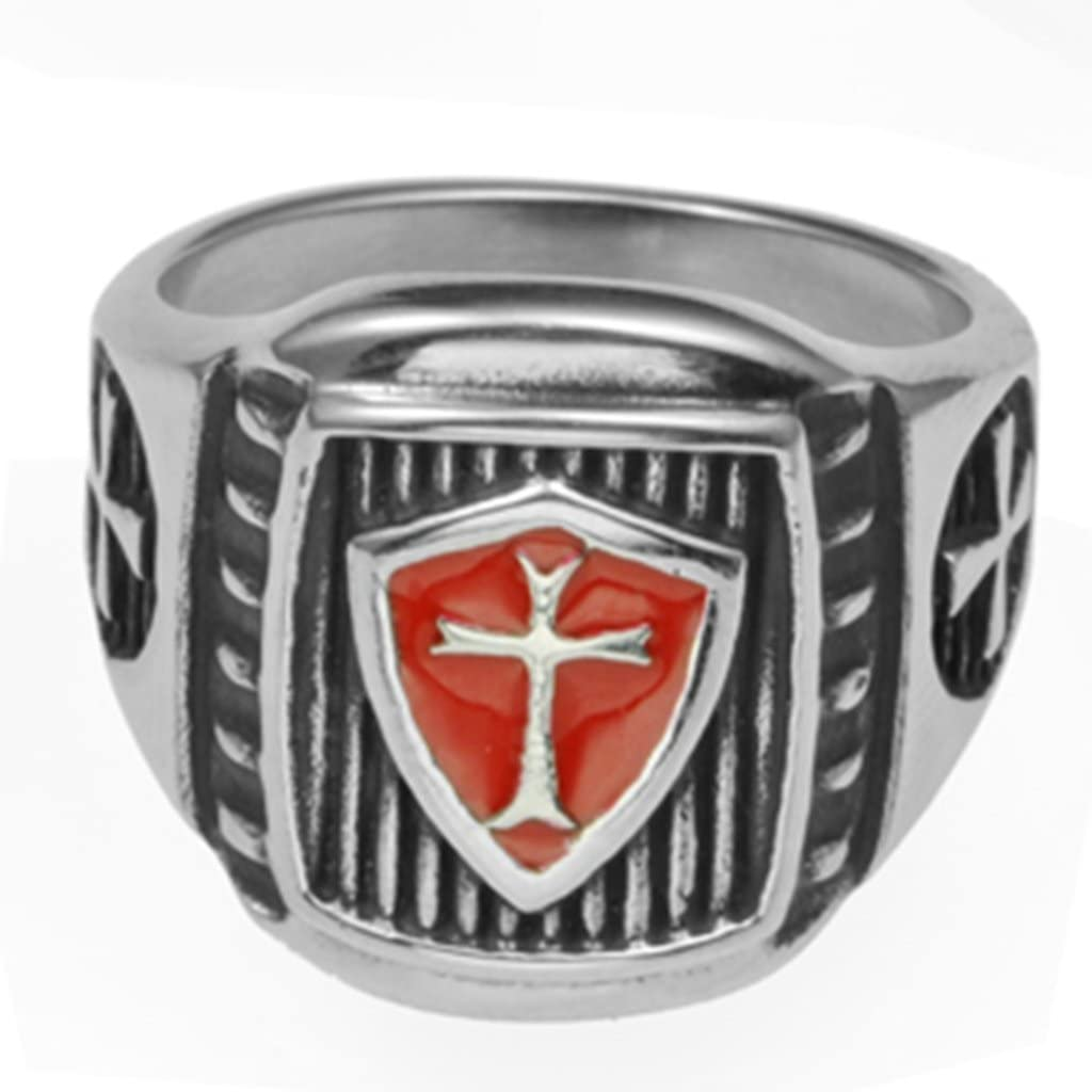 Jude Jewelers Retro Vintage Crusade Cross Biker Religious Ring Stainless Steel Red Enamel
