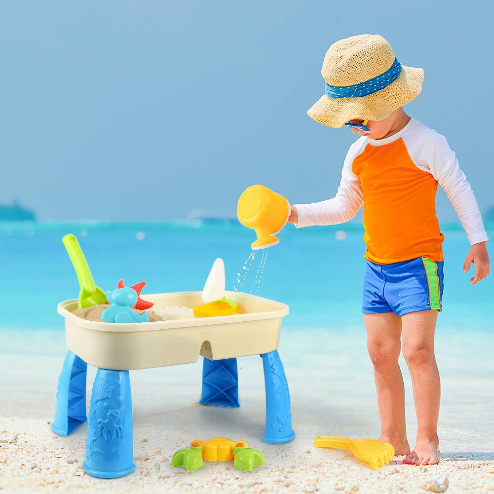 Lovelion Beach Toy Set with Activity Table with Storage Room and Cover Suitable for Toddler Over Fun Sand Toys Set for Girls and Boys Kids Outdoor Toys