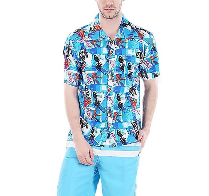 Camisas Hombre Manga Corta Cuello Solapa Un Solo Pecho Camisa Hawaiana Playa De Verano Casual Moda