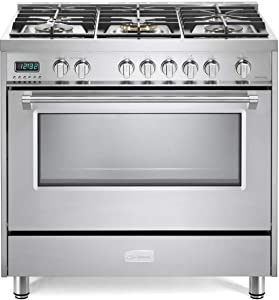 Verona Designer Series VDFSGE365SS 5.0 Cu. Ft 36 inch Dual Fuel Range Oven 2 Convection Fans 5 Sealed Brass Burners Stainless Steel