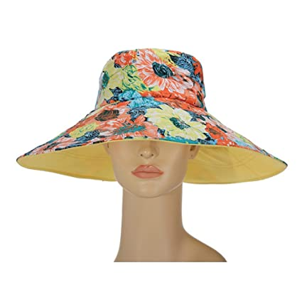 4f72ec65996 Women s Sun Hat Reversible Foldable Floppy Bucket Cap Wide Brim UPF 50+  Outdoor Cotton Floral