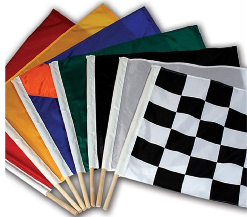 24'' x 30'' Official Size Auto Racing Flag Set, Sets Include 7 Authentic Nylon Racetrack Flags, Made in USA