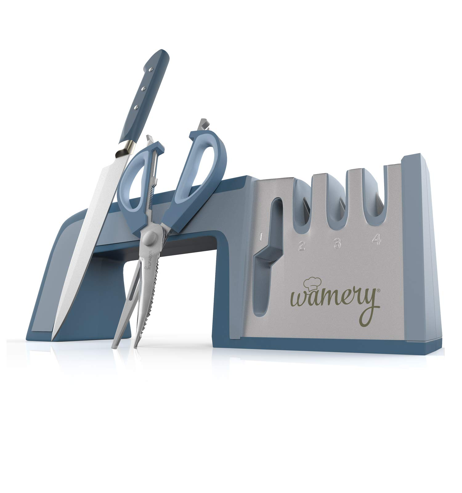 Wamery Knife and Scissors Sharpener. Scissor Sharpeners Professional, Works Great as seen on tv. 4-Stage Kitchen Knife Sharpening Tool. Ceramic Knife Sharpener, Shear Sharpener. by Wamery