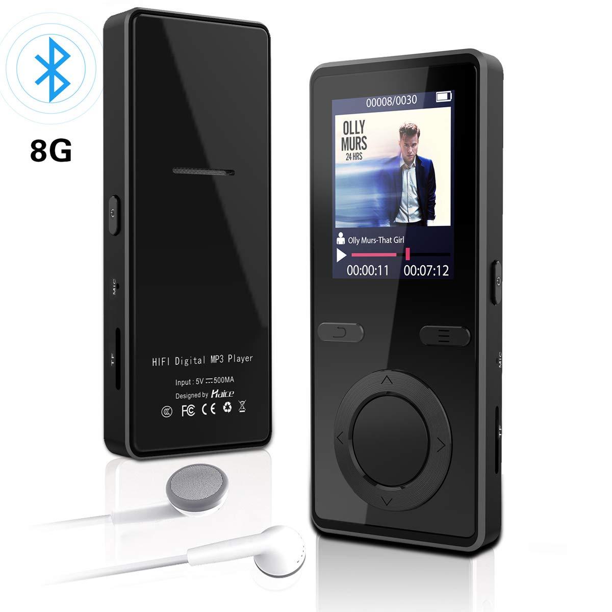 Reproductor mp3 Bluetooth,Haice Reproductores Portátiles de MP3 de 8GB Audio Reproductores de Música con Altavoz / Radio FM / Grabador de Voz / Reproducción de Música con Apagado Programado