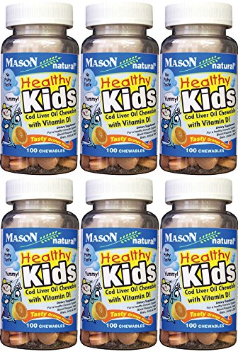 Mason Vitamins Healthy Kids Cod Liver Oil and Vitamin D, Tasty Chewable Orange Flavor, 100 Tablets per Bottle Pack of 6 Total 600 Tablets
