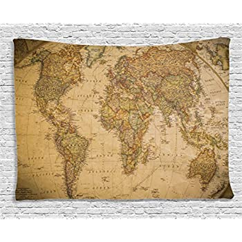 Old World Map Art. Ambesonne Wanderlust Decor Collection  Anthique Old World Map in Retro Color with Vintage Nostalgic Design Amazon com Antique Tapestry Wall Hanging Uphome Light