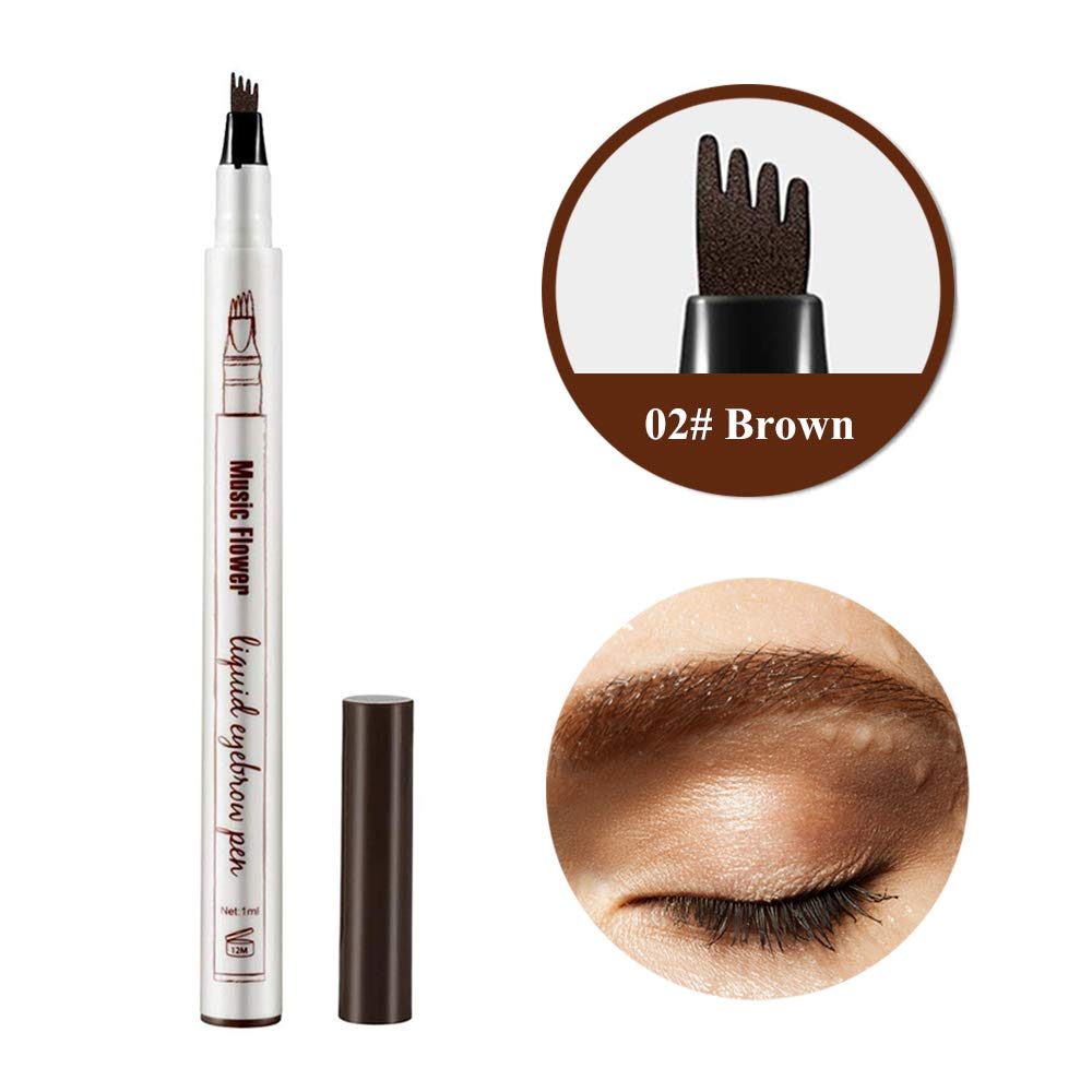 Eyebrow Tattoo Pen, Waterproof Microblading Eyebrow Tattoo Pencil with a Micro Fork Tip Applicator Creates Natural Looking Brows Effortlessly and Stays on All Day for Eyes Makeup (02# Brown)