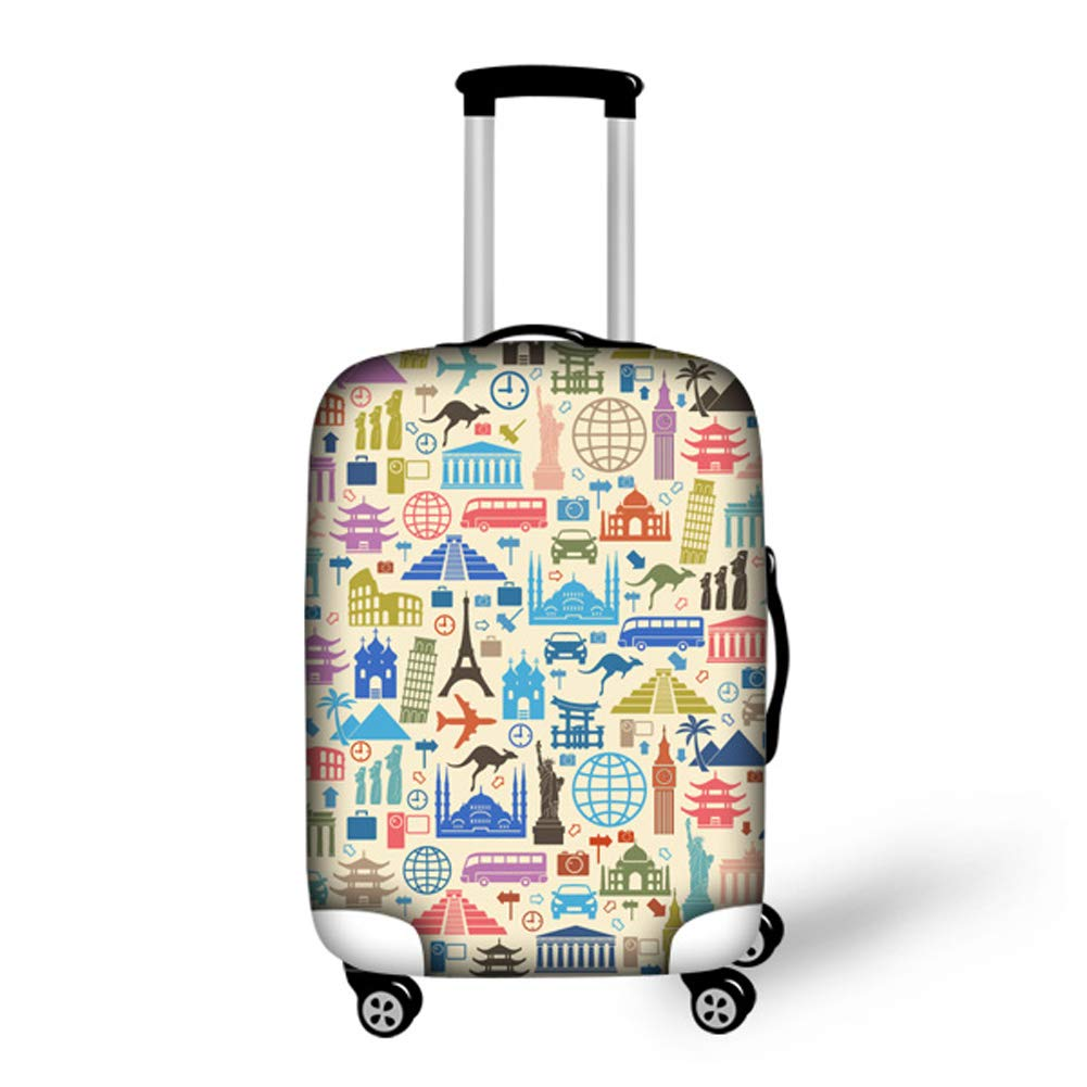 Bigcardesigns Luggage Cover Protector Anti-dust Case Baggage Suitcase Jacket Spandex Cover World Architecture Design Size L Apply to 26-30 inch Luggage