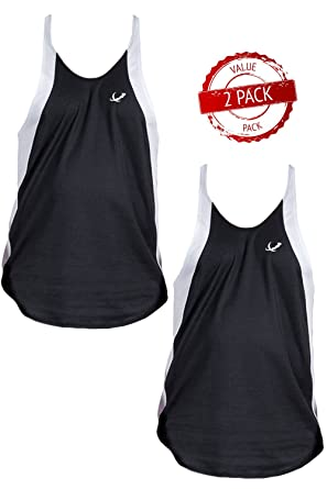 352ad672d9f4a Amazon.com  Mens Athletic Dri-fit Two-tone Stringer Tank Top By Pitbull   Clothing