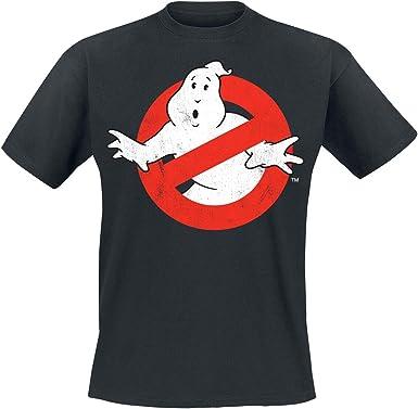 Ghostbusters Distressed Logo Hombre Camiseta Negro, Regular