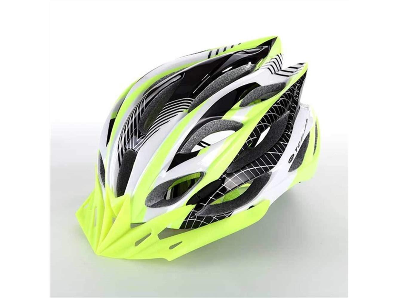 AHIMITSU Casco da Ciclismo Casco Moto da Donna Casco da Uomo One-Piece Casco da Bicicletta da Montagna poroso (Verde + Nero) Articoli Sportivi
