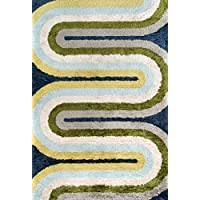 Novogratz Retro Collection Retro Wave Shag Area Rug, 23 x 76 Runner, Multicolor