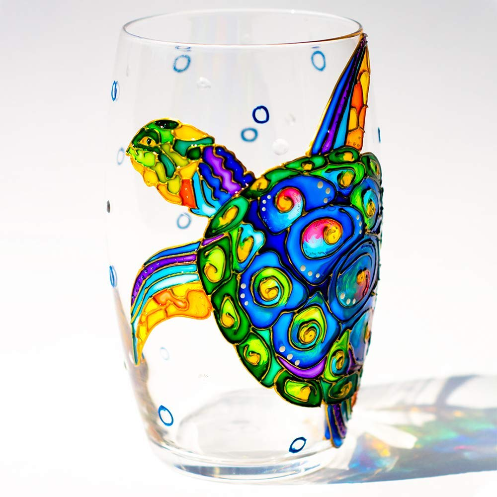Amazon Com Sea Turtle Stemless Wine Glass Hand Painted Beach Wedding Glasses Personalized Gifts Under The Handmade