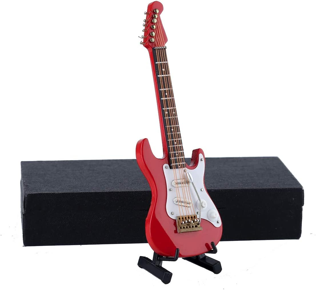 """Dselvgvu Wooden Miniature Electric Guitar with Stand and Case Mini Musical Instrument Miniature Dollhouse Model Birthday Present (Electric Guitar:Red, 5.49""""x1.76""""x0.48"""")"""