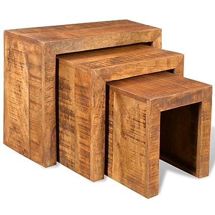 Tavolini Da Salotto Impilabili.Vidaxl 3x Tavolini Impilabili Legno Massello Mango Tavolino Basso Da Salotto