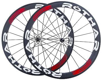Rothar RV50-C23 Juego de Ruedas Formato Cubierta Full Carbón, Blanco y Rojo, Perfil: 50mm: Amazon.es: Deportes y aire libre