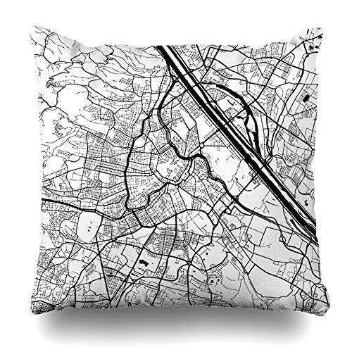 - Ahawoso Throw Pillow Cover Macro City Vienna Austria Monochrome Map Artprint Outline Ready Roads for Color Change Separated On Zippered Pillowcase Square Size 18 x 18 Inches Home Decor Pillow Case
