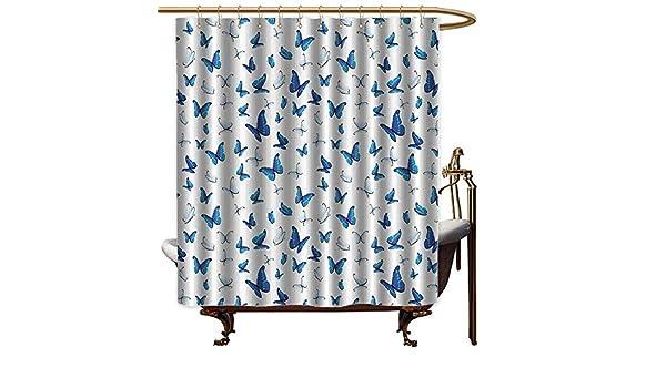 Godves - Cortinas para mampara de Ducha, diseño de Mariposas, Color Azul: Amazon.es: Hogar