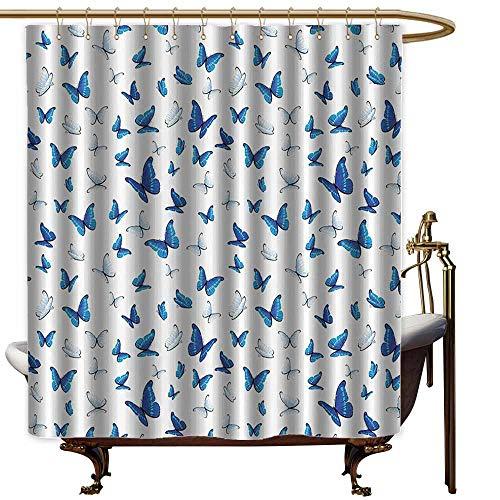 - Godves Long Shower Curtain,Butterflies Decoration Butterflies Patterns Seasonal Jolly Clip Art Rainforest Wilderness llustration,Art Print Polyester,W55x86L,