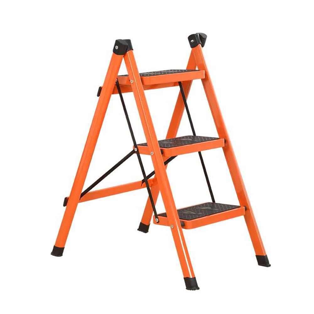 家庭用3段梯子椅子デュアルユース屋内3段3段式非吊りペダルヘリングボーン用折り畳み梯子 (色 : オレンジ) B07D9H7WBB オレンジ オレンジ