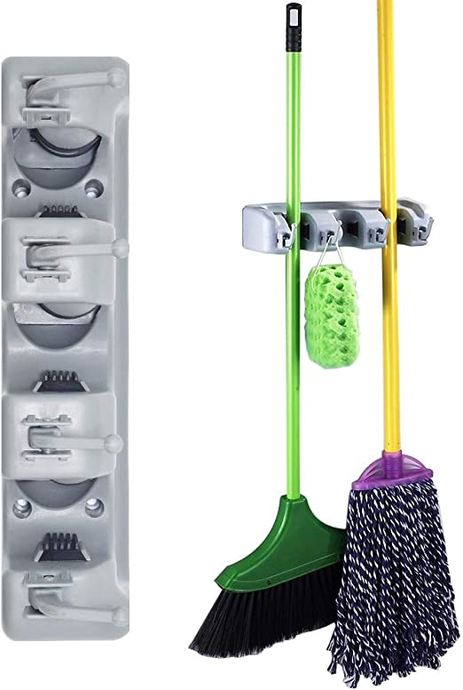 DrDirt Mop and Broom Holder Wall Mounted with 3 Sliding Positions and 4 Hooks Tool Rack Storage Organizer Utililty for Kitchen Laundry Room Closet Garden