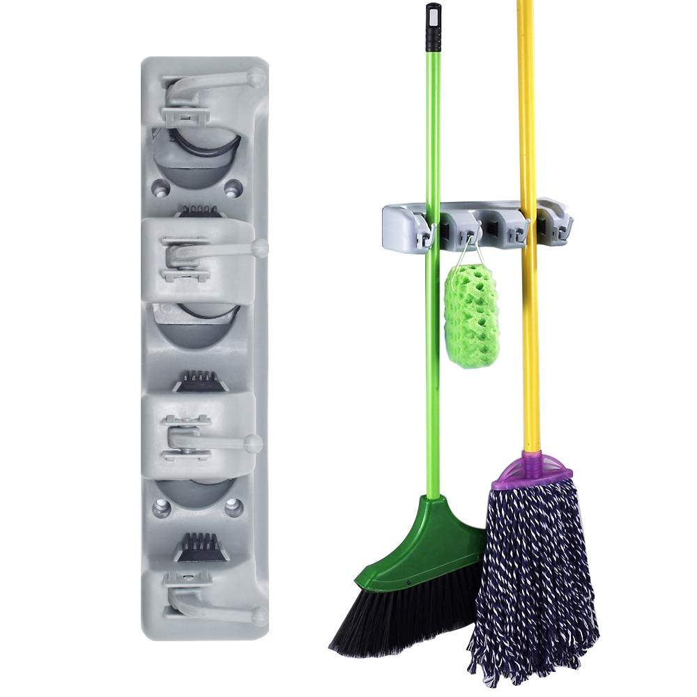 SENHAI Garage Storage, 3 Position with 4 Hooks Garage Organizer Universal Magic Wall Holder/Stand Organizer for Household Broom/Mop Cleaning Tool