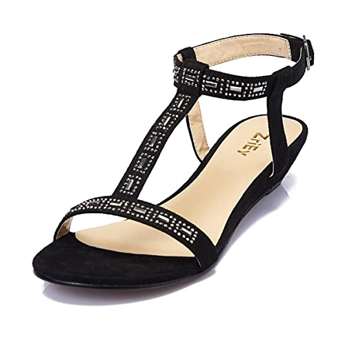 d66620fb69780 ZriEy Women s Sexy T-Strap Low Heel Sandals for Wedding Party Shopping  Black Size 5