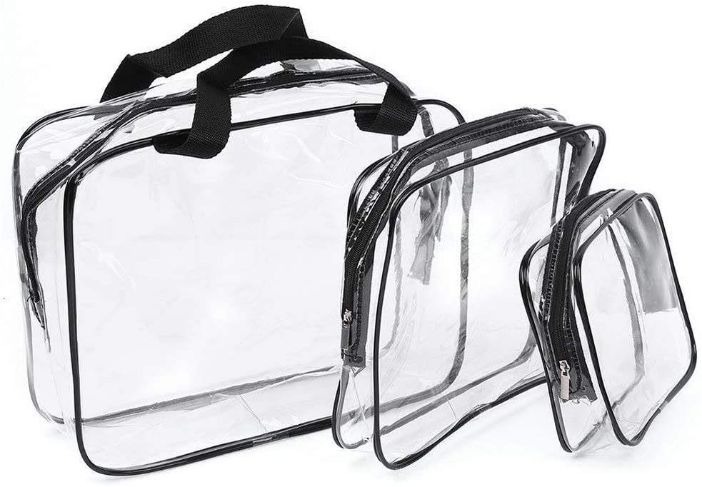 Amaoma Bolsa Transparente Avion Neceser Transparente Mujer Estuches Transparentes Bolsas Plastico Bolsa Aseo Neceser PVC Impermeable Portátil Bolsa de Cosmético Organizador de Viaje (3 Set)